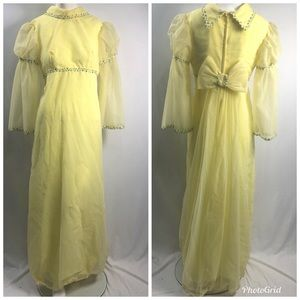 Vintage 60s 70s Yellow Bow Back Party Dress